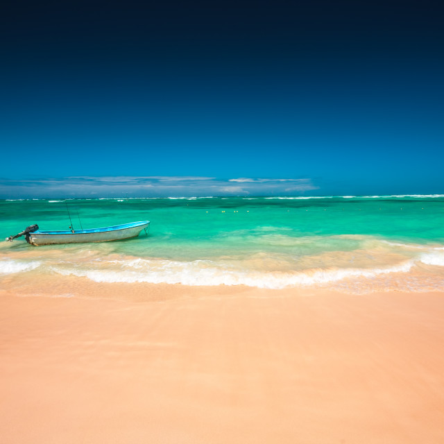 """""""Carribean sea and boat on the shore, beautiful panoramic view"""" stock image"""