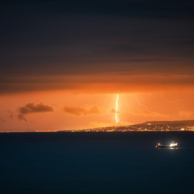 """Lightning storm over Black sea near"" stock image"