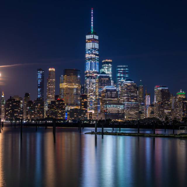 """Lower Manhattan at night"" stock image"