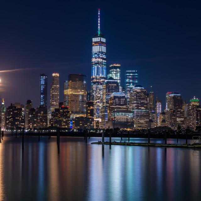 """Lower Manhattan at night"" stock image"