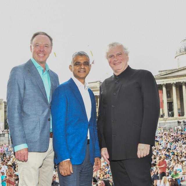 """BMW Classics + live streamed on YouTube in Trafalgar Square, london, UK"" stock image"