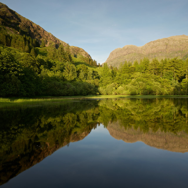 """Reflections at the Torren Lochan"" stock image"