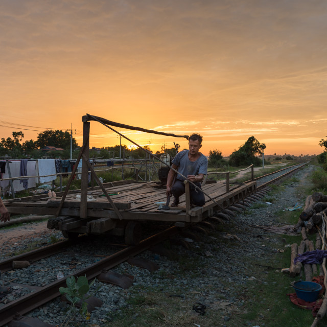 """Sunset over the railway"" stock image"