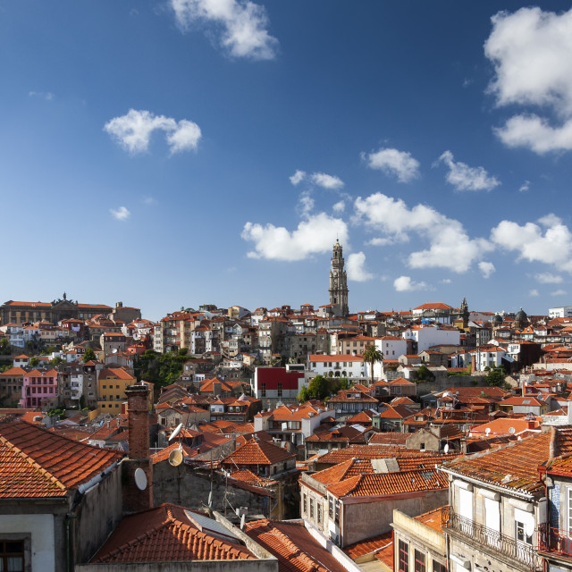 """View of the skyline of the city of Porto in Portugal, Europe; Concept for travel in Portugal and most beautiful cities in Europe"" stock image"