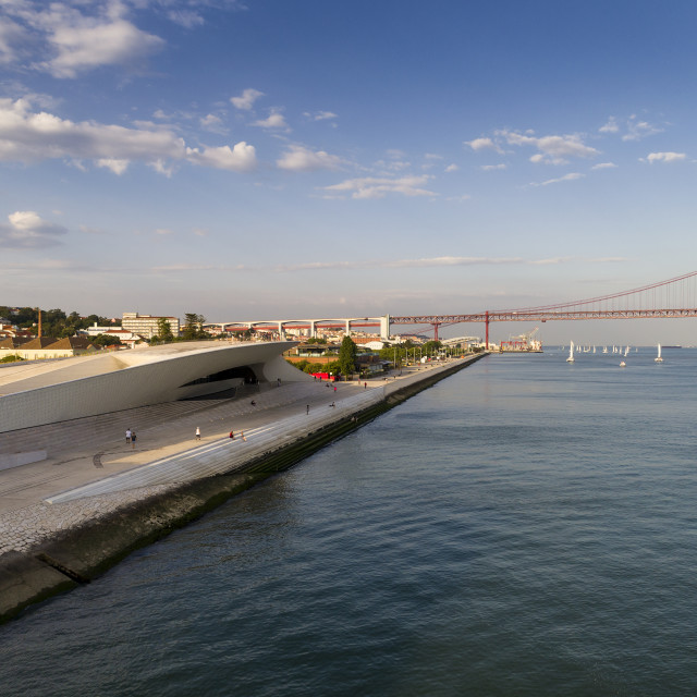"""Aerial view of the city of Lisbon with Tagus River and the 25 of April Bridge on the background; Concept for travel in Portugal and visit Lisbon"" stock image"