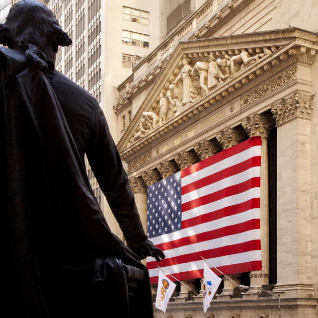 """""""Giant American Flag on the building of the New York Stock Exchange with..."""" stock image"""