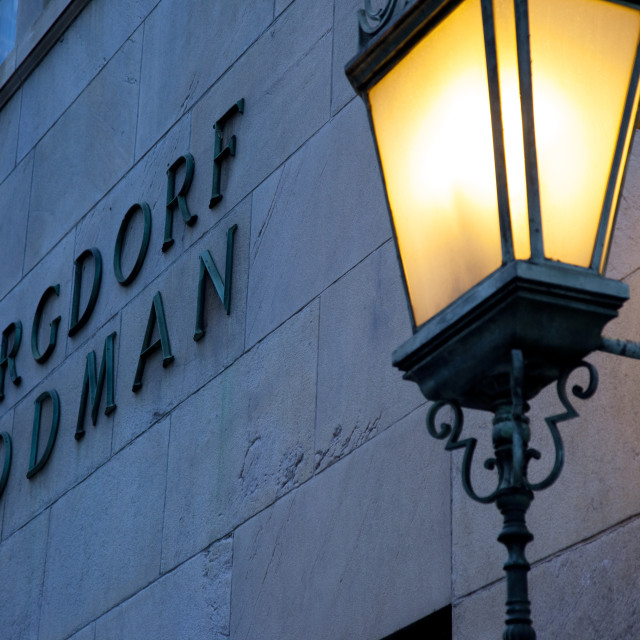 """Evening detail on the Bergdorf Goodman building in Manhattan, New York City USA"" stock image"