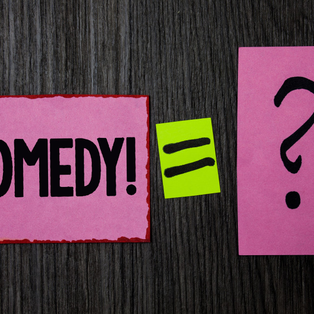 """""""Writing note showing Comedy Call. Business photo showcasing Fun Humor Satire..."""" stock image"""