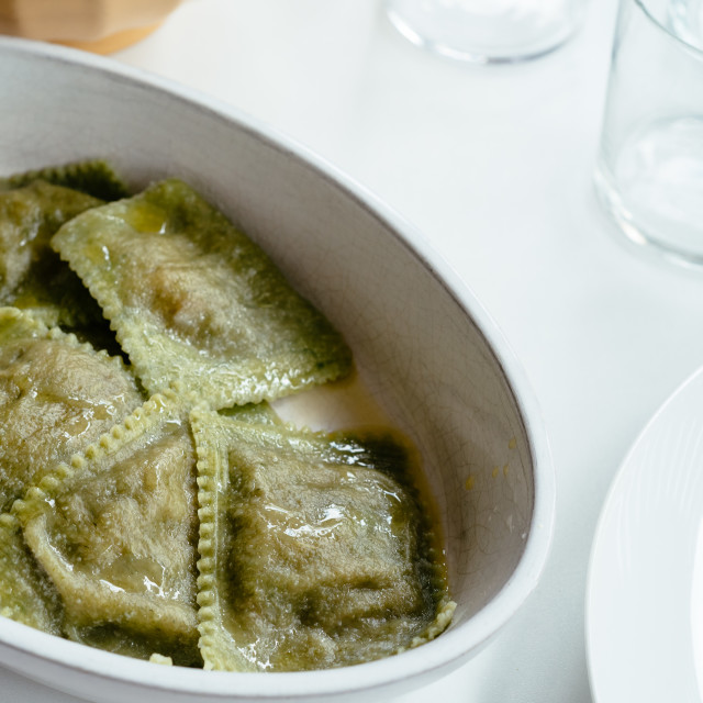 """""""Close up of green raviolis on table"""" stock image"""