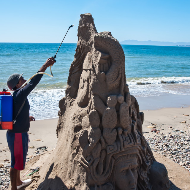 """Sand artist at work"" stock image"