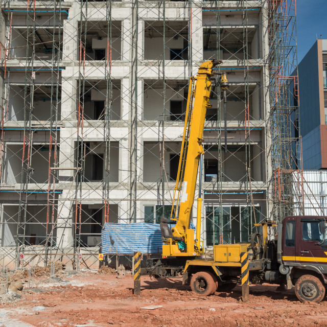 """""""Mobile truck crane at construction site"""" stock image"""