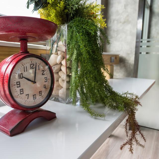"""Antique red clock for interior decoration"" stock image"