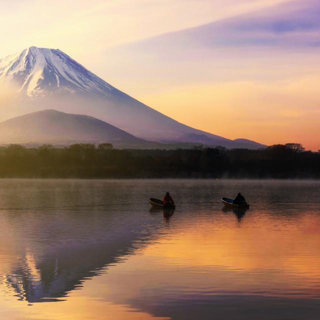 """""""Fujisan at sunrise in Shoji lake"""" stock image"""