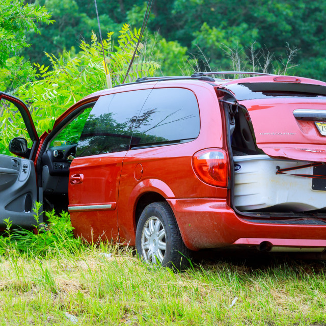 """Sayreville NJ USA - Jujy 02, 2018: at accident damaged car"" stock image"