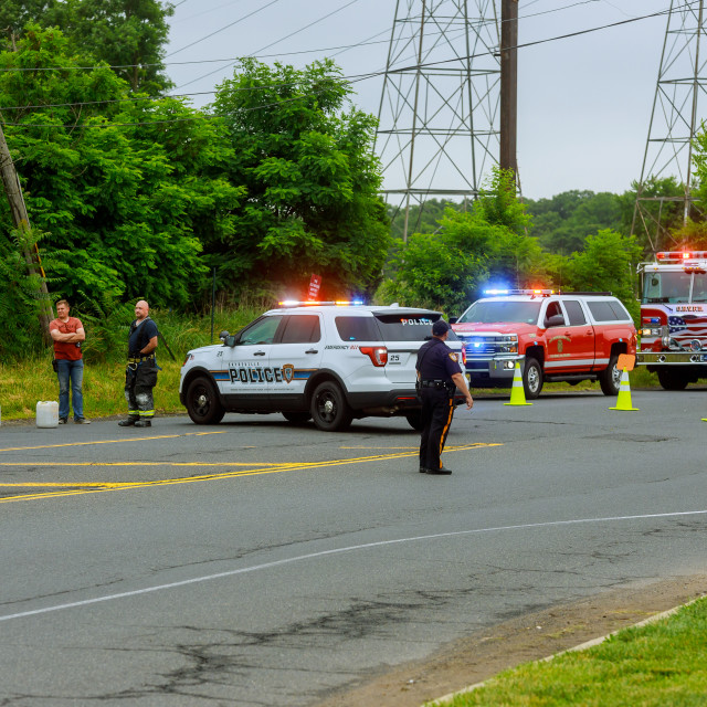 """Sayreville NJ USA - Jujy 02, 2018:Police cars lights the street after car..."" stock image"