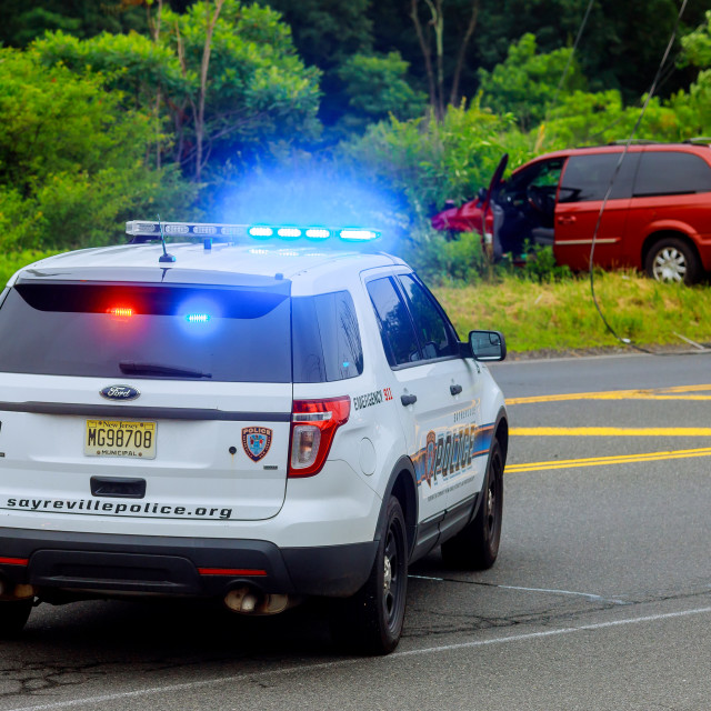"""Sayreville NJ USA - Jujy 02, 2018:Police flashing blue lights at accident..."" stock image"
