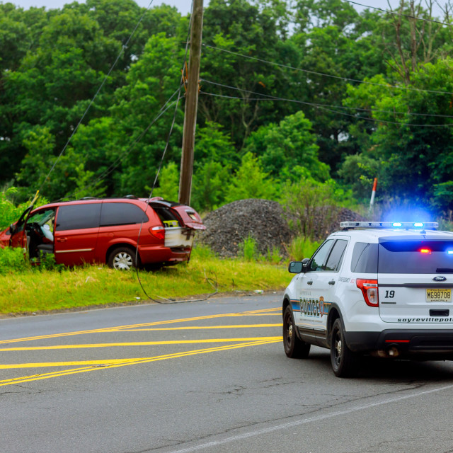 """Sayreville NJ USA - Jujy 02, 2018: Police flashing blue lights at accident..."" stock image"