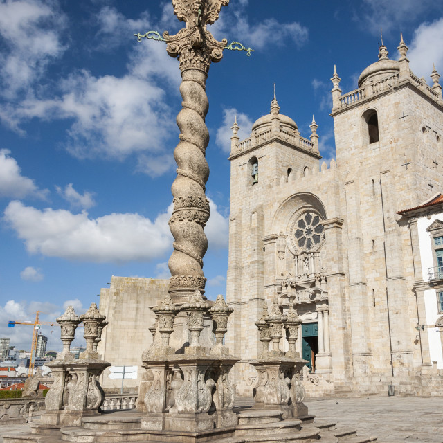 """View of the Porto Cathedral (Se do Porto) in the city of Porto, Portugal"" stock image"