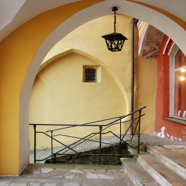 """Wasserburg am Inn, Upper Bavaria, Germany - medieval portico, with vaulted ceiling"" stock image"