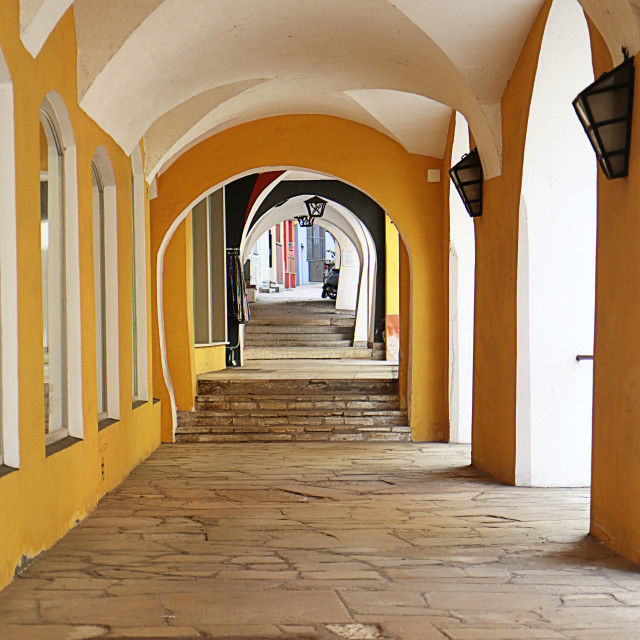 """Wasserburg am Inn, Upper Bavaria, Germany - portico in the old town"" stock image"