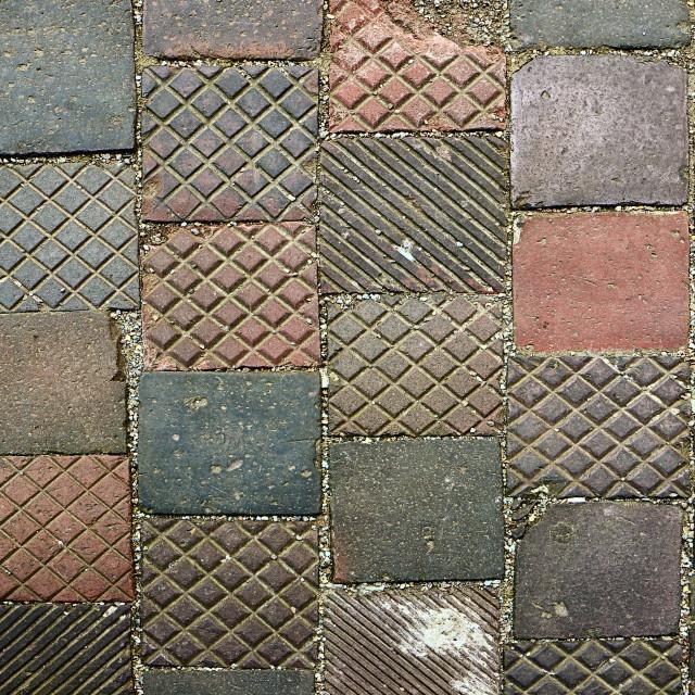 """Pavement texture, medieval irregular tiles"" stock image"