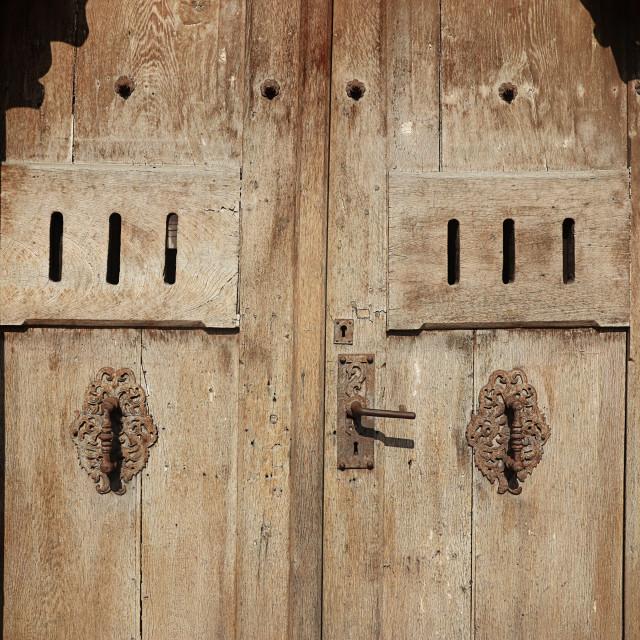 """""""Wooden texture: grunge ancient wooden door"""" stock image"""