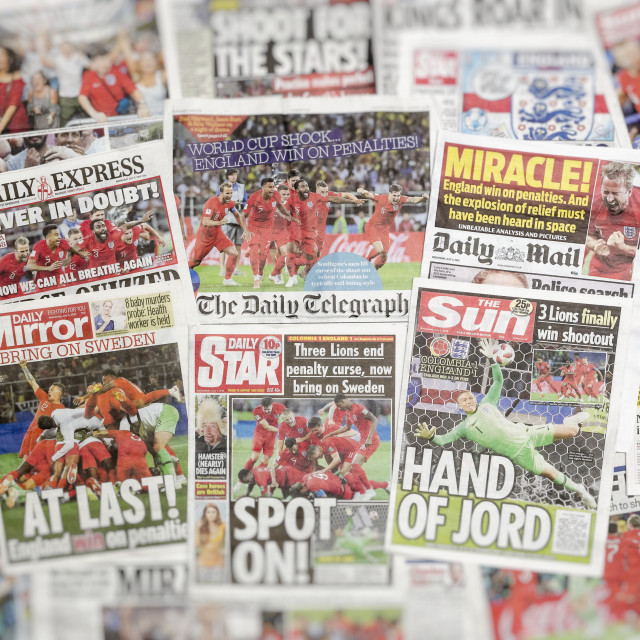 """British newspaper front pages reporting on England's World Cup triumph"" stock image"