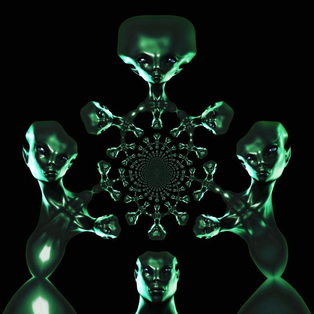 """Digital 3D Illustration of an Alien"" stock image"