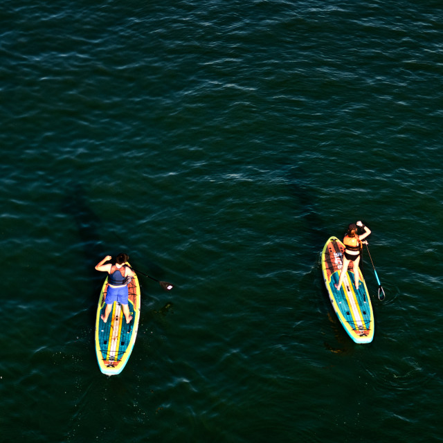 """""""Paddleboarding on the River"""" stock image"""