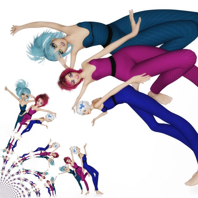 """Digital 3D Illustration of Manga Girls"" stock image"