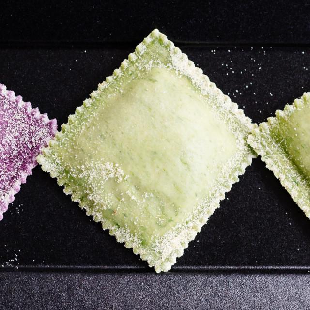 """Close up of coloured raviolis"" stock image"