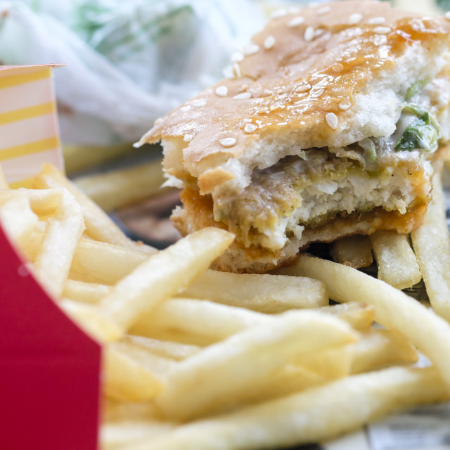 """Unfinished Chicken Burger With Fries"" stock image"