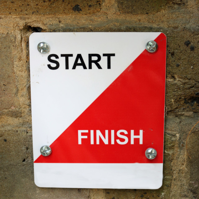 """""""Permanent orienterering course start and finish marker"""" stock image"""