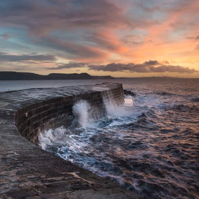 """Lyme Regis sunrise"" stock image"