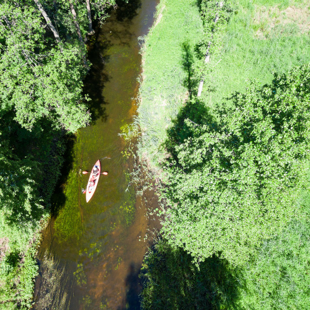 """""""Aerial view of canoe on Marycha river on a sunny day, Poland"""" stock image"""