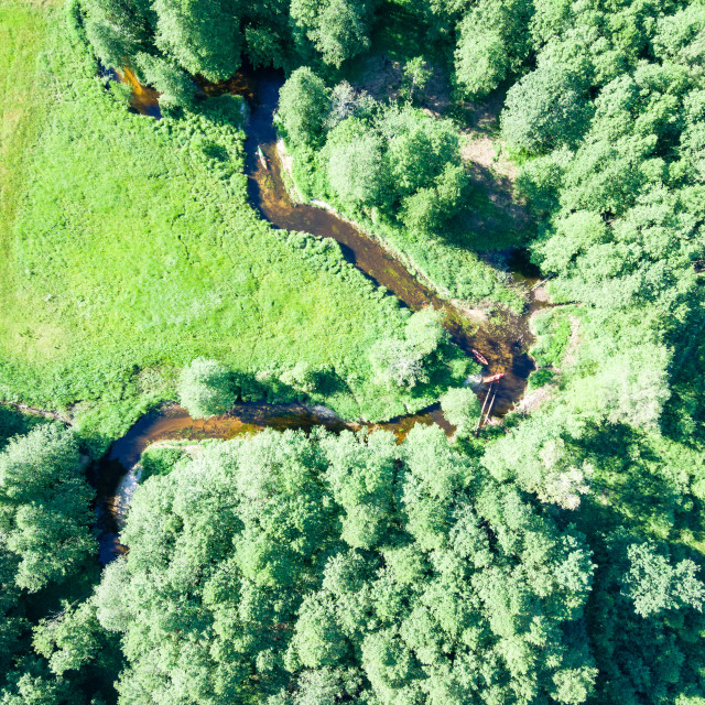 """""""Aerial view of canoes on Marycha river on a sunny day, Poland"""" stock image"""