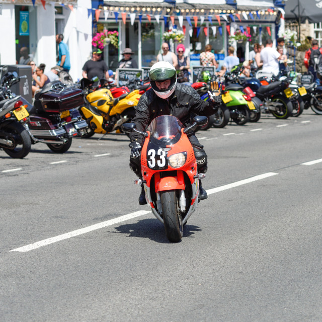 """Motorcyclist in Matlock Bath,Derbyshire,UK."" stock image"