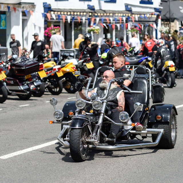 """Bikers Matlock Bath in Derbyshire,UK."" stock image"