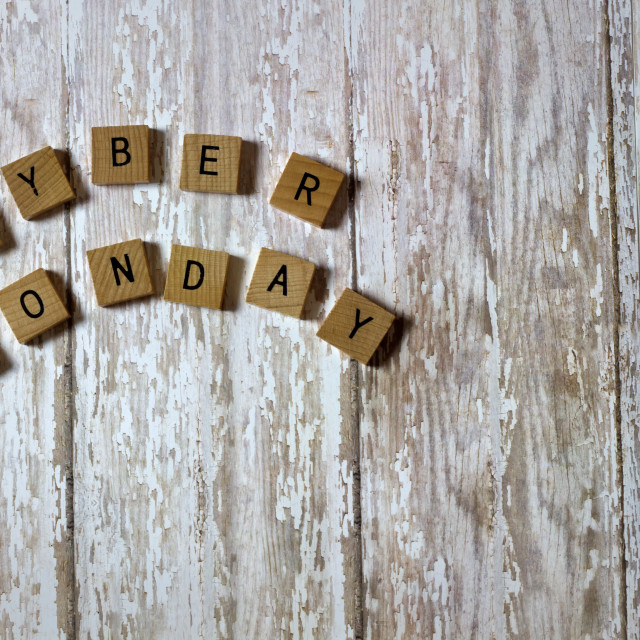 """""""Cyber Monday Sale Tiles on a white washed wood plank background"""" stock image"""