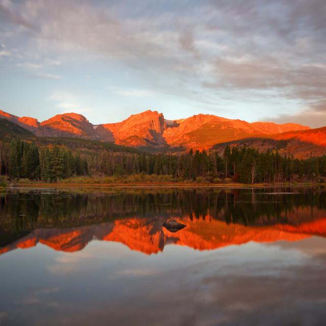 """""""Morning Glow on Sprague Lake"""" stock image"""
