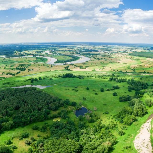 """Panorama of Bug river near Szumin / Wyszkow"" stock image"