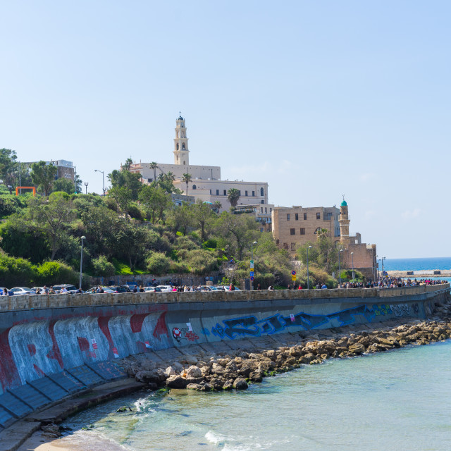 """The view of Jaffa from the Tel Aviv beach"" stock image"