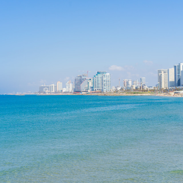 """The view of Tel Aviv, Israel with the beach in the foreground"" stock image"