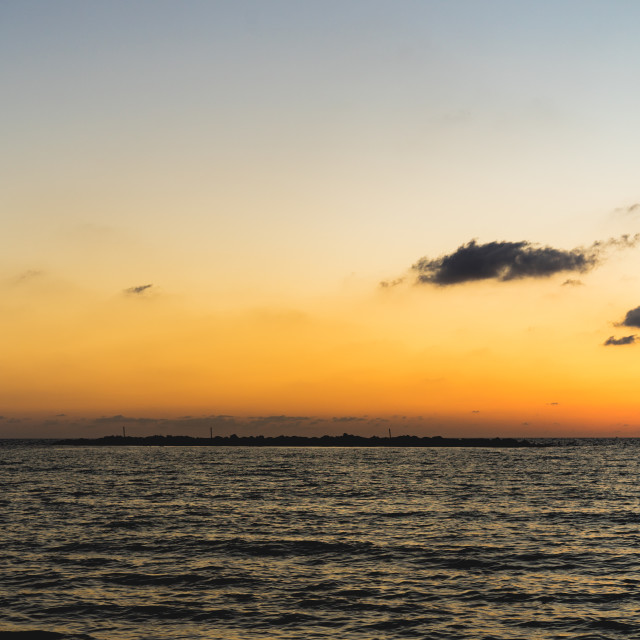 """Sunset at the Tel Aviv beach"" stock image"