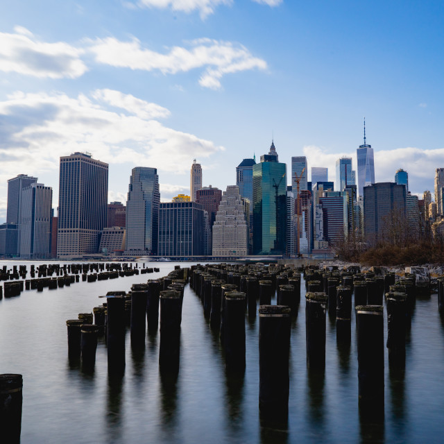 """A long exposure of the docks at Brooklyn Bridge Park"" stock image"