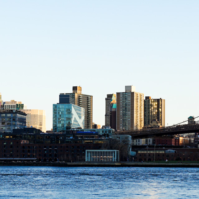 """Panoramic view in between Manhattan Bridge and Brooklyn Bridge in New York City"" stock image"
