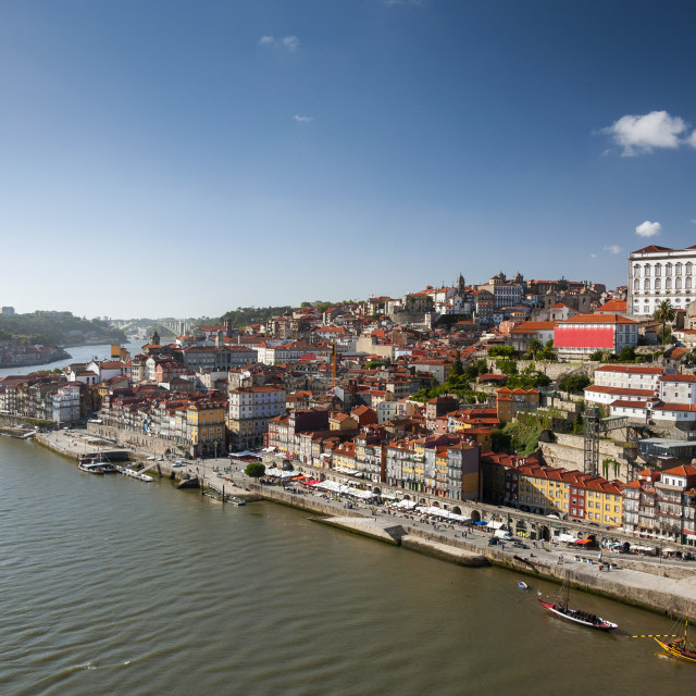 """View of the Ribeira Neighborhood and the Douro River in the city of Porto, Portugal"" stock image"