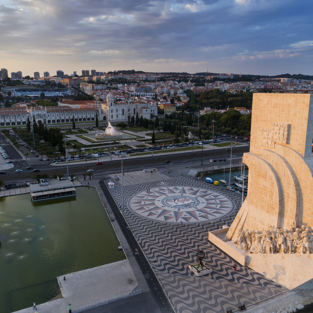 """Lisbon, Portugal - June 23, 2018: Aerial view of the Monument to the Discoveries in the city of Lisbon at sunset;"" stock image"