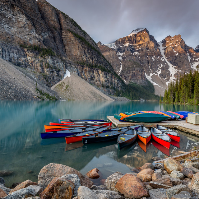 """Moraine Lake canoeing"" stock image"