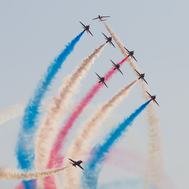 """""""Red Arrows performing the Tornado"""" stock image"""